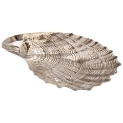 Aesthetic Movement, Style Rare, Unusual, Large Sterling Silver Oyster Shell
