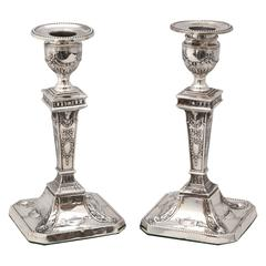 Pair of Edwardian Sterling Silver Adams Style Candlesticks