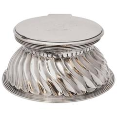 Victorian Sterling Silver Inkwell with Hinged Lid