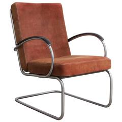 1933, W.H. Gispen for Gispen Culemborg, Easy Chair 409 in Terra Cotta