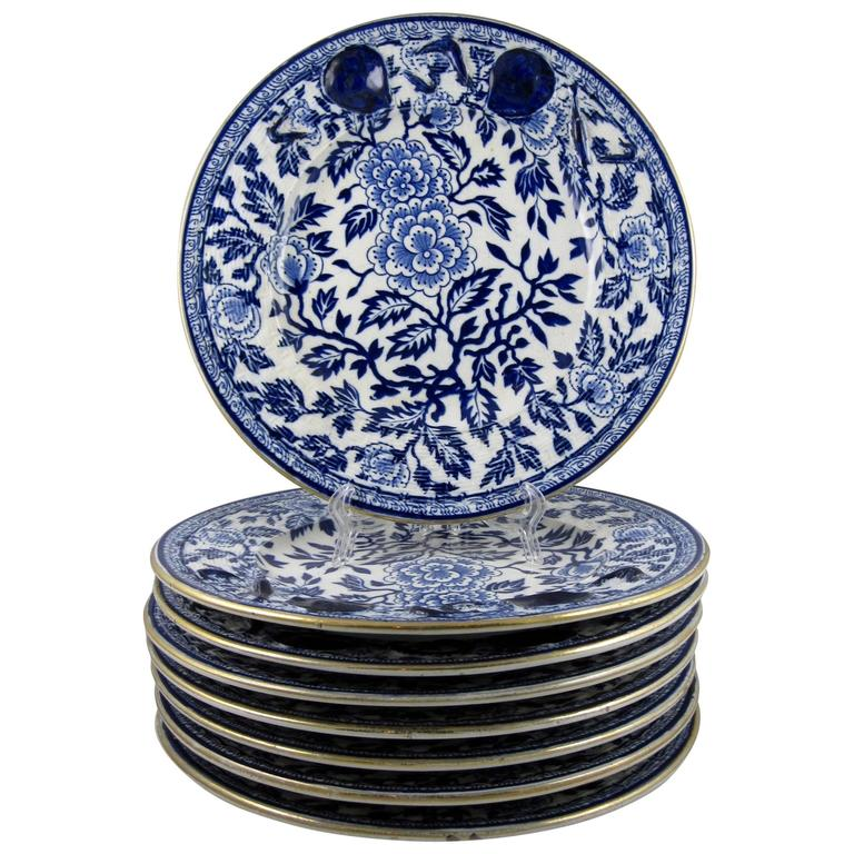 English Staffordshire Chinoiserie Blue Transferware Seafood Plates set of eight For Sale  sc 1 st  1stDibs & English Staffordshire Chinoiserie Blue Transferware Seafood Plates ...