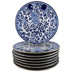 English Staffordshire Chinoiserie Blue Transferware Seafood Plates, set of eight