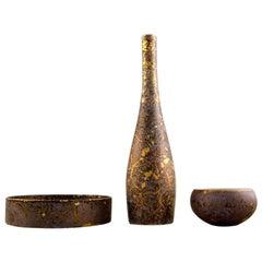Rosenthal Studio Line, H. Dressler Porcelain Vase and Two Bowls in Gold