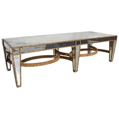 Hollywood Regency Coffee Table in Antiqued Mirror
