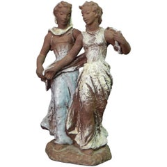 """Two Women,"" Large, Lovely Mid-Century Sculpture by Lore Friedrich-Gronau"