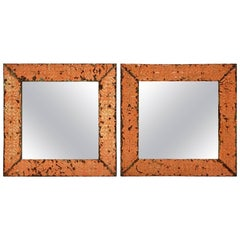 A Pair Of Antique Copper Ceiling Tile Framed Mirrors