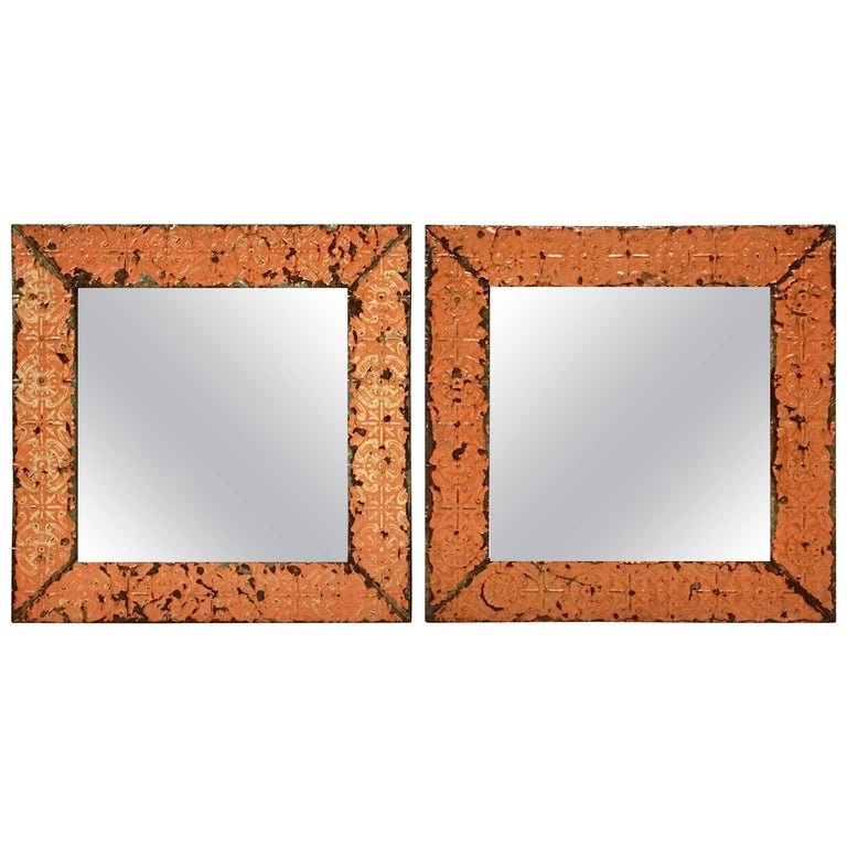 A Pair Of Antique Copper Ceiling Tile Framed Mirrors-New York City For Sale