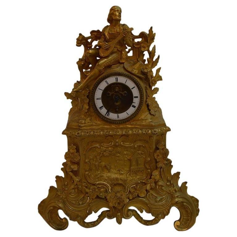19th Century French Gilt Bronze Clock