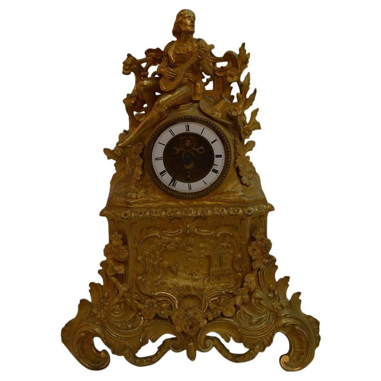 19th Century French Gilt Bronze Clock For Sale