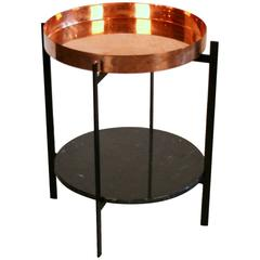 Deck Table with Copper Tray and Black Marble by OX Denmarq