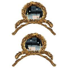 Pair of Italian Gilt Laurel Wreath Mirrors, circa 1800