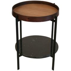 Deck Table with Walnut Andleather Tray and Black Marble by OX Denmarq