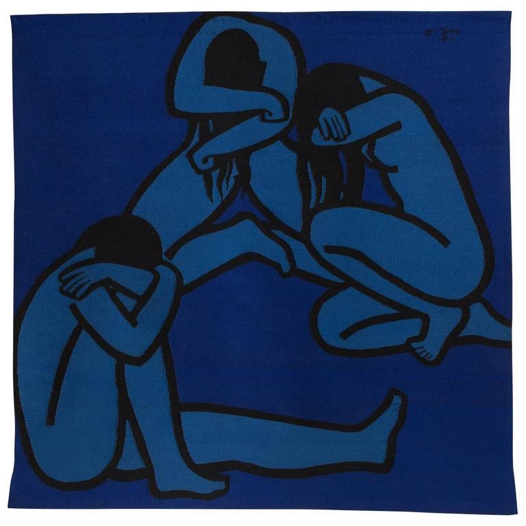"Original, Hand-Woven Jan Yoors Tapestry Entitled, ""Weeping Women IV"""