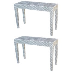 Pair of Scallop Mirrored Consoles