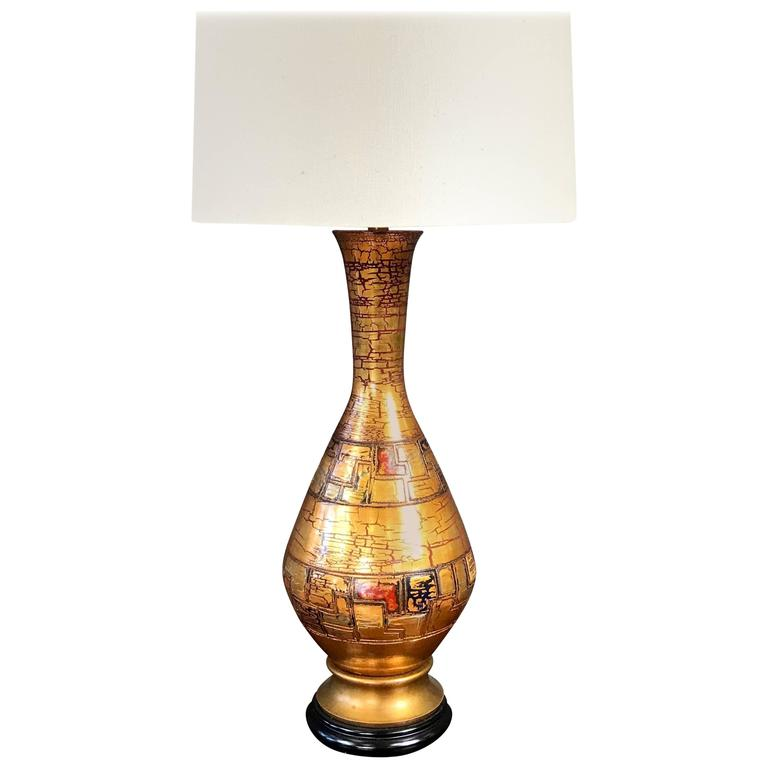 Monumental Marbro Ceramic Table Lamp with Gold Crackle Glaze