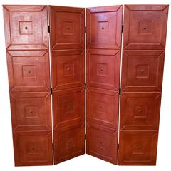 Maitland-Smith Leather-Clad Four-Panel Folding Screen