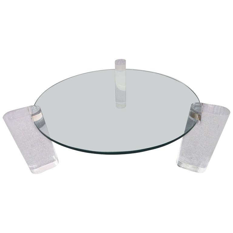 Magnificent Round Karl Springer Chunky Lucite Coffee Table Circa 1970s For Sale At 1stdibs