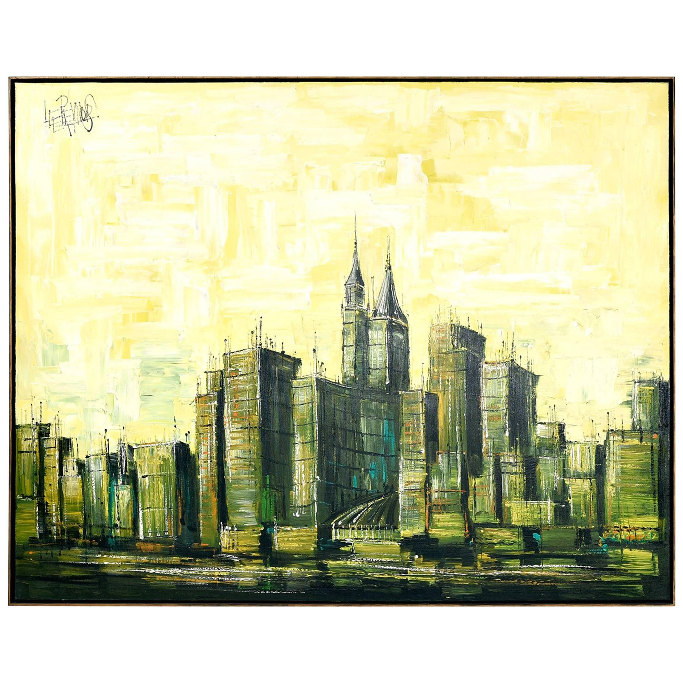 Large Lee Reynolds 20th Century Cityscape Oil Painting on Canvas at ...