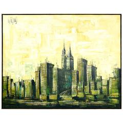 Mid-Century Modern Lee Reynolds Cityscape Painting