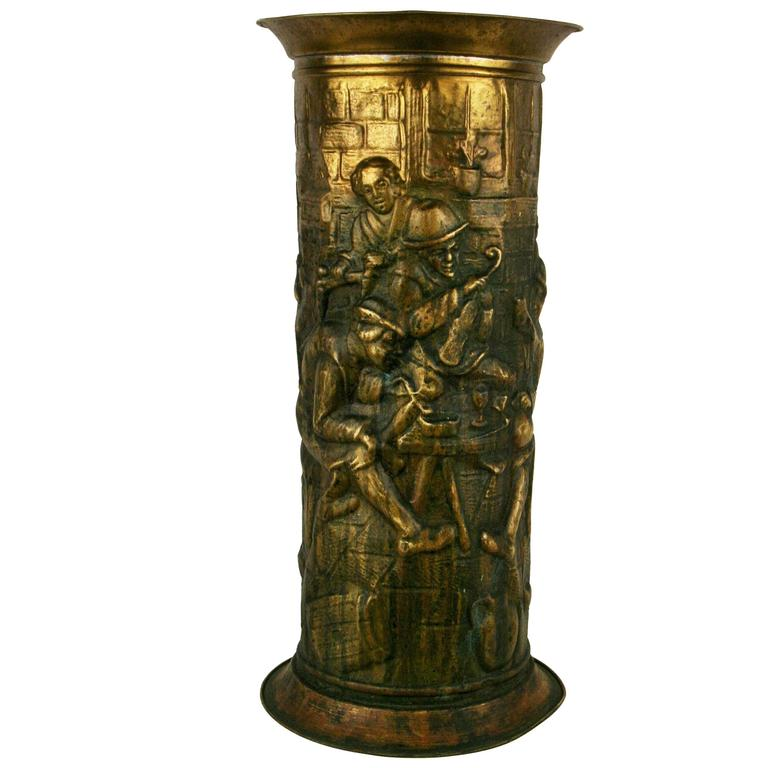 English Brass Embossed Umbrella Stand For Sale