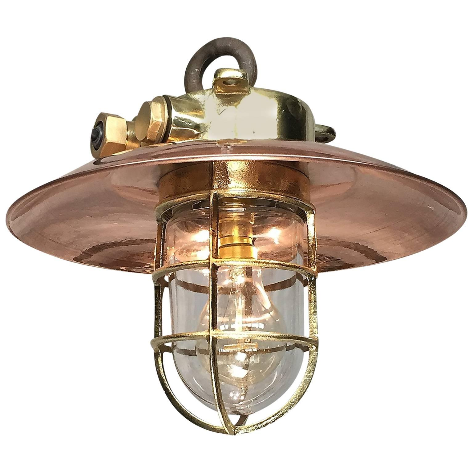 20th Century Brass and Copper Explosion Proof Pendant, Glass Dome, Edison Bulb