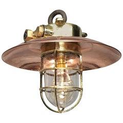 20th Century Brass and Copper Explosion Proof Pendant, Glass Dome, Edison Bulb