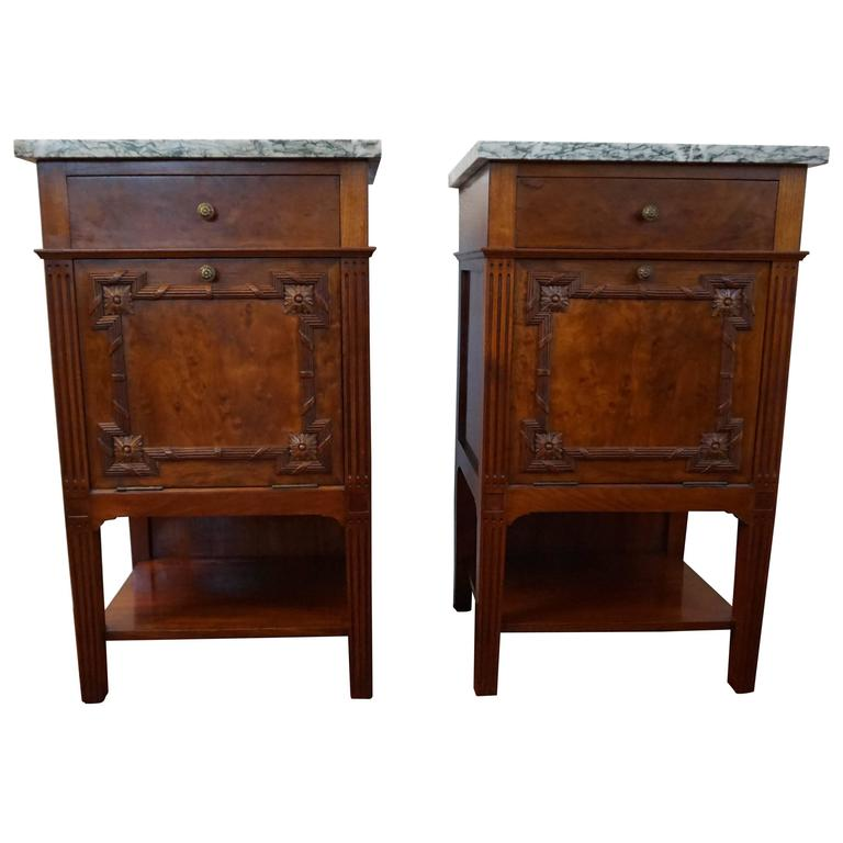 Antique Mahogany Bedside Tables / Cabinets with Carved Elements and Green  Marble 1 - Antique Mahogany Bedside Tables / Cabinets With Carved Elements