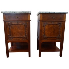 Antique Mahogany Bedside Cabinets w. Hand Carved Elements and Green Marble Tops