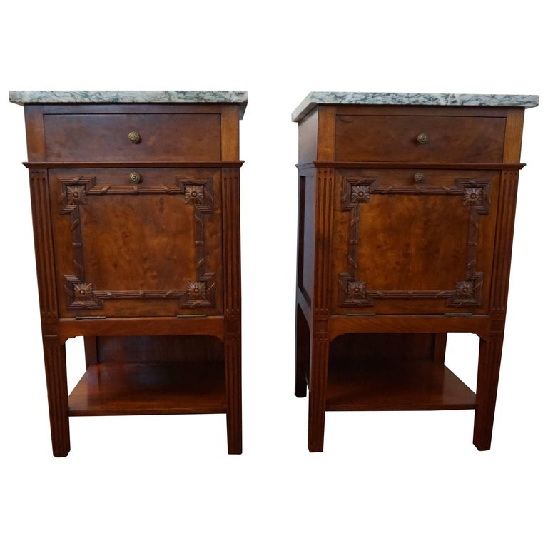 Marble Tops Bedroom Set Antique Mahogany Bronze Good: Antique Mahogany Bedside Cabinets W. Hand Carved Elements