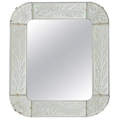 Swedish Art Déco Mirror, Fine Engraving with Circular Leaves