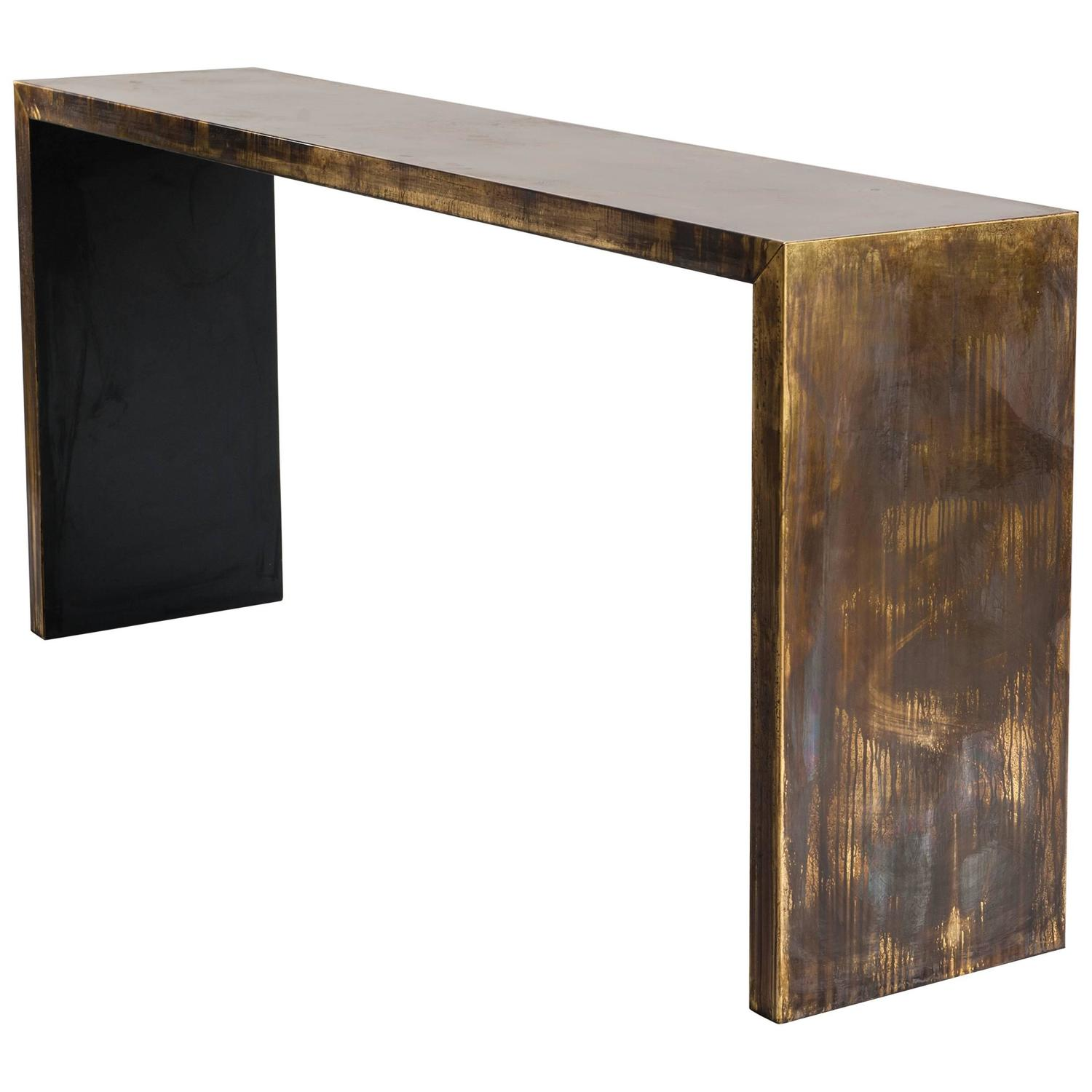 Gracile Console Table, Bronze Veneer with Extraordinary Patina ...