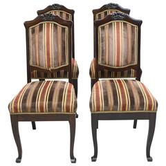 Set of Four Danish Early Art Deco Dining Chairs in Mahogany, circa 1915-1920