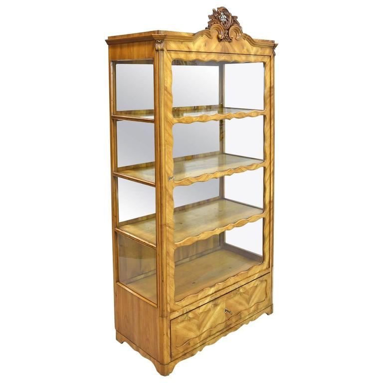 19th Century Late Biedermeier or Louis Philippe Display Cabinet in Cherrywood For Sale
