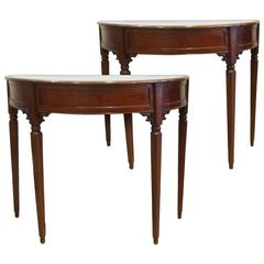 Two Italian Mid-19th Century Side Tables in Mahogany Wood with White Marble Top