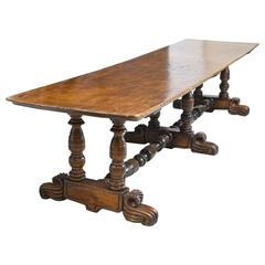 19th Century Spanish Colonial Rustic Dining Table with Carved Trestle Base