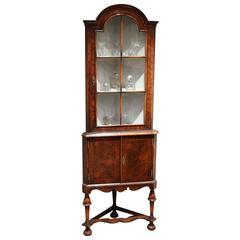 Burr Walnut Corner Display Cabinet