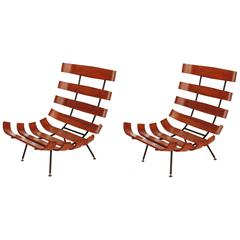 Splendid Pair of Martin Eisler and Carlo Hauner Lounge Chairs for Forma, Italy