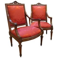Two Late-18th Century Italian Louis XVI Armchairs in Carved Walnut Wood
