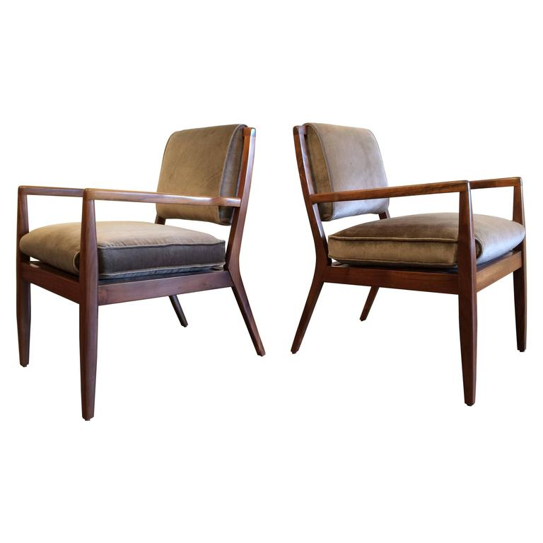 Pair of Modern Walnut Armchairs, USA, 1950s For Sale