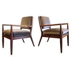 Pair of Modern Walnut Armchairs, USA, 1950s