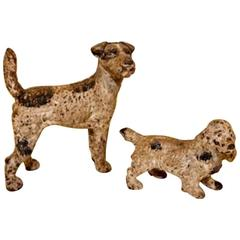 Charming 19th Century Iron Door Stops in the Form of Dogs, Fox Terrier, Spaniel