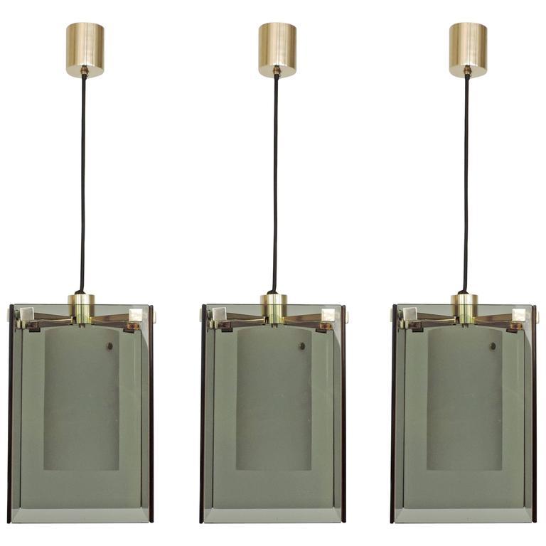 Splendid Max Ingrand Set of Three Mod. 2211 Ceiling Lamps for Fontana Arte