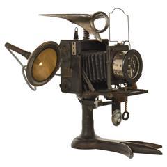 Raven Art Assemblage Clock and Desk Lamp