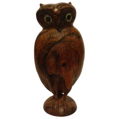 Folk Art Standing Owl Wooden Carved Sculpture