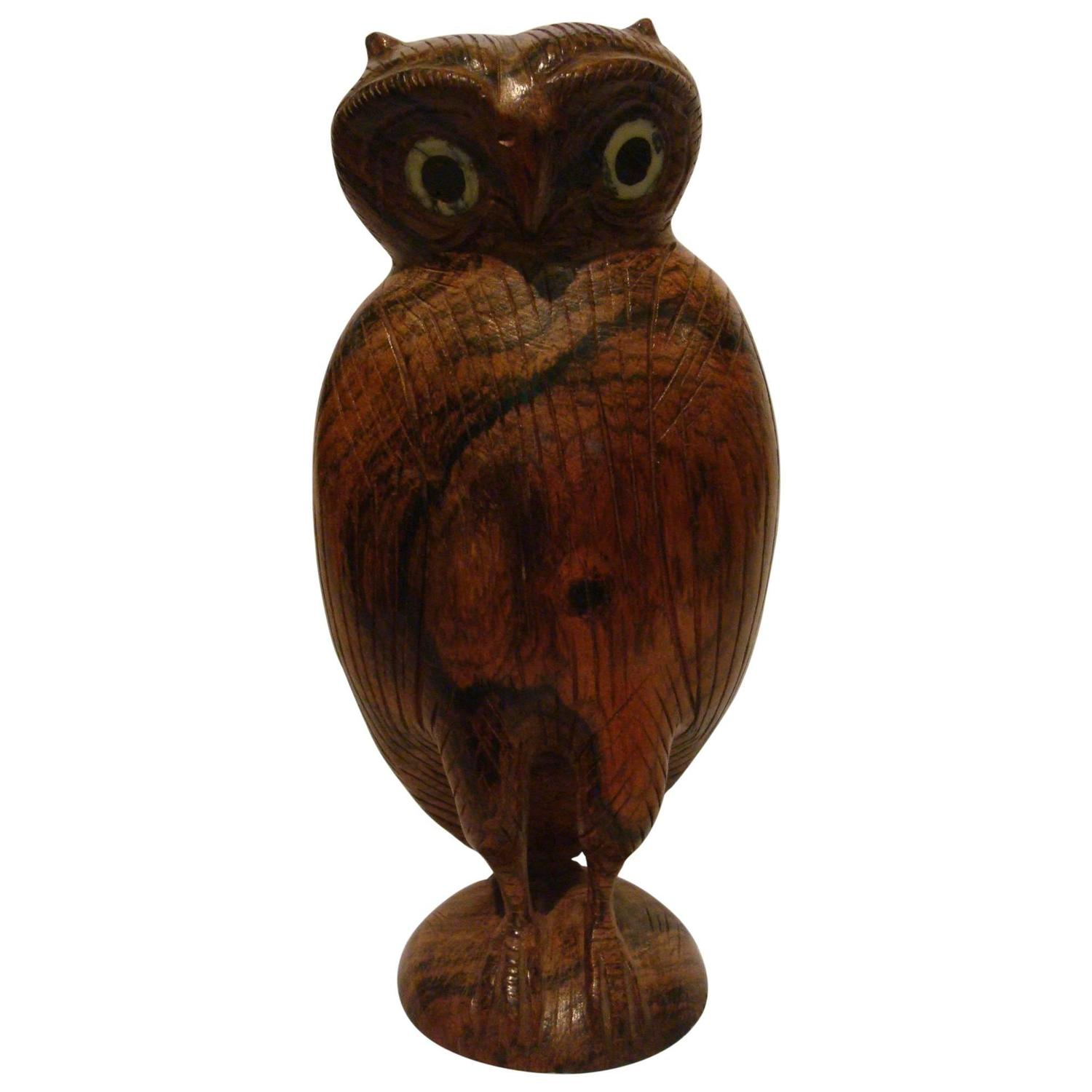 Folk art standing owl wooden carved sculpture for sale at