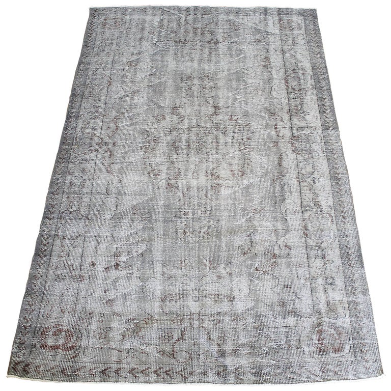 Vintage Turkish Hand Knotted Wool Rug For Sale