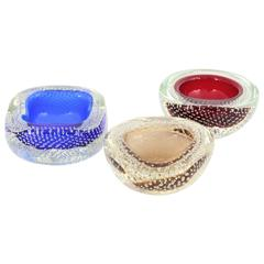Trio of Galliano Ferro Red, Blue and Toffee Bullicante Murano Geode Glass Bowls