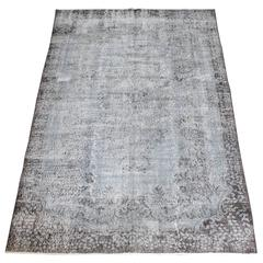 Vintage Hand-Knotted Turkish Wool Rug in Faded Indigo