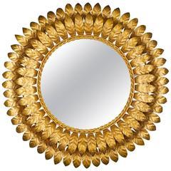 Vintage French Sunburst Mirror with Back Light