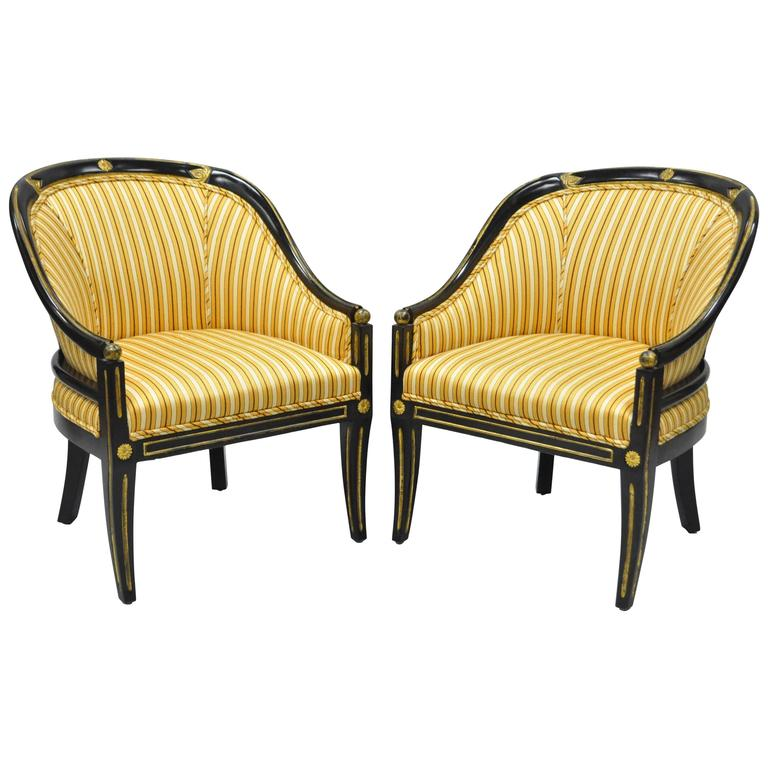 Pair Of Black Ebonized And Gold Neoclassical Barrel Back Slipper Accent  Chairs For Sale